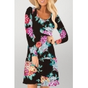 Popular Floral Print Button Up Ruffle Cuff Open Back Long Sleeve Scoop Neck Mini Swing Dress for Womens