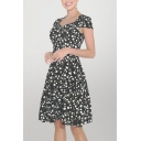 Unique Ditsy Floral Print Pleated Sweetheart Neck Cap Sleeve Midi Swing Dress for Womens