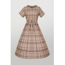 Classic Womens Plaid Print Pleated Drawstring Short Sleeve Crew Neck Midi A-Line Dress