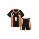 Fashionable Number Footprint Graphic Contrasted Short Sleeve Spread Collar Loose T Shirt & Straight Shorts Set in Black