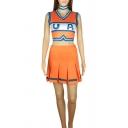 Popular Color Block Asymmetric Hem V Neck Sleeveless Slim Crop Tank Top & Elastic Waist Mini A-Line Pleated Skirt Set in Orange