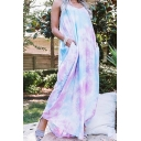 Casual Womens Tie Dye Backless V Neck Spaghetti Straps Sleeveless Oversized Maxi Slip Dress in Purple
