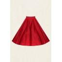 Vintage Pattern Printed Pleated High Rise Midi Swing Skirt for Womens