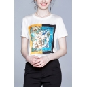 Bird and Flowers Printed Short Sleeve Crew Neck Relaxed Chic Tee Top