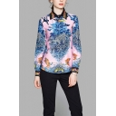 Vintage Mixed Animal Printed Long Sleeve Point Collar Button-up Relaxed Fit Shirt Top in Blue