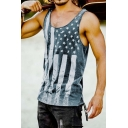 Creative American Flag Pattern Sleeveless Round Neck Slim Fitted Tank Top
