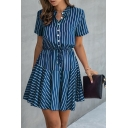 Novelty Checker Striped Printed Pleated Button Down Drawstring Short Sleeve Stand Neck Short A-Line Dress for Womens