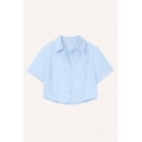 Basic Womens Solid Color Short Sleeve Spread Collar Chest Pocket Button-up Relaxed Cropped Shirt Top