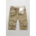 Simple Mens Chinos Shorts Solid Color Knee-Length Zipper Fly Regular Fitted Chinos Shorts