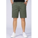 Fancy Mens Shorts Checked Pattern Pocket Zipper Applique Elastic Mid Rise Regular Fitted Shorts