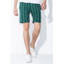 Cozy Shorts Striped Pattern Pocket Drawstring Mid Rise Regular Fit Shorts for Men