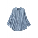 Casual Womens Solid Color Single Breasted Long Sleeve Turn Down Collar Cuvred Hem Loose Fit Tunic High Low Shirt