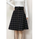 Girls Fancy Plaid Check Printed Belted Waist Mini A-Line Skirt