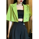 Womens Chic Fluorescent Green Notched Lapel Long Sleeve Double Button Slim FIt Cropped Blazer Jacket
