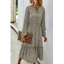Pop Ditsy Floral Printed Gathered Waist Stringy Selvedge Keyhole Tie Neck Bishop Long Sleeve Midi A-Line Dress for Women