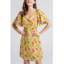 Fancy Womens All over Flower Print High Waist V Neck Butterfly Sleeve Mini A-Line Dress in Yellow