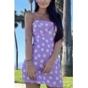 Cute Girls All Over Floral Printed Spaghetti Straps Mini A-line Slip Dress in Purple