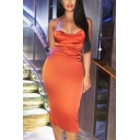 Elegant Ladies Satin Solid Color Spaghetti Straps Cowl Neck Mid Bodycon Slip Dress