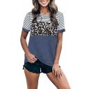 Popular Striped Leopard Print Color Block Round Neck Short Sleeve Regular Fit T-Shirt for Women
