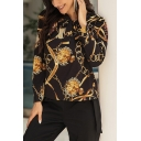 Black Stylish Chain Printed Tie Neck Long Sleeve Fitted Blouse Top for Women