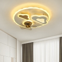 5-Blade Modernist Cloud Ceiling Fan Lamp Metallic LED Bedroom Semi Flush Mount in White, 19.5