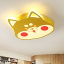 Cartoon Cat Shape Flush Light Fixture Metal LED Bedroom Flush Mounted Lamp in Black/Yellow