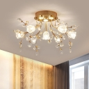 Simplicity Flower Ceiling Flush Beveled Crystal 7 Bulbs Corridor Semi Flush Light Fixture