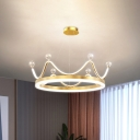 Crown LED Hanging Chandelier Contemporary Metal Gold/Pink Suspended Lighting Fixture for Parlor