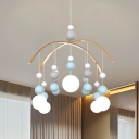 5 Lights Blue/Pink Ball Suspension Lamp Simplicity Fabric Chandelier Lighting Fixture for Bedroom