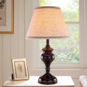Fabric Cone Night Light Colonial LED Bedroom Small Desk Lamp in Brown with Beige Shade