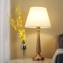 Fabric Gold Nightstand Lamp Drum LED Colonial Task Lighting with White Shade for Bedroom