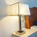 Colonial Square Desk Light LED Metallic Table Lamp in Chrome with Fabric Shade and On/Off Pull Chain
