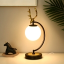 Opaline Glass Globe Table Lamp Nordic 1-Bulb Night Light with Antler Design in Black/Gold