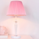 Macaron Style 1-Head Table Lighting Pink Cone Night Lamp with Pleated Fabric Shade