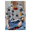 Guys Summer Retro Newspaper Printed Half-Sleeve Street Fashion Oversized T-Shirt