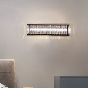 LED Rectangle Flush Mount Wall Sconce Simplicity Black Cut Crystal Wall Mounted Lamp for Bedroom