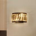 2-Light Wall Lighting Ideas Postmodern Demilune Prismatic Crystal Sconce Light in Black