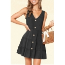 Gorgeous Womens Solid Color Sleeveless V-neck Button-up Ruffled Trim Short Pleated Swing Tank Dress
