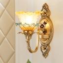 Flower Hand Blown Glass Wall Lamp Traditional 1/2-Light Parlour Wall Mounted Light Fixture in Brass