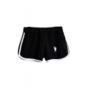 Sportswear Womens Footprint Letter Ics Graphic Contrast Pipe Elastic Waist Relaxed Shorts