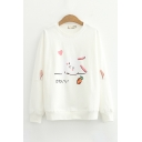 Cute Girls Japanese Letter Rabbit Graphic Long Sleeve Crew Neck Loose Fit Pullover Sweatshirt