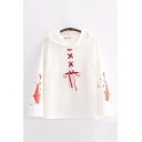 Fish Printed Lace-up Long Sleeve Relaxed Fit Harajuku Hoodie
