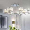 Chrome 6/8-Bulb Semi Flush Chandelier Modern Clear Crystal Rectangle Flush Ceiling Light