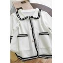Elegant Womens Contrast Knit Trim Pockets Pearl Button Down Peter Pan Collar Short Sleeve Relaxed Fit Blouse in White