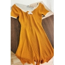 Hot Popular Womens Contrast Stitching Slit Cut Out Back Short Sleeve Round Neck A-Line Knit Dress