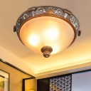 3/5-Light Flush Mount Recessed Lighting Antique Hemispherical Frosted Glass Ceiling Lamp in Brown, 16