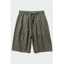 Mens Trendy Relax Shorts Embroidery Crescent Pattern Drawstring Pocket Mid Waist Knee Length Fitted Relax Shorts