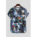 Dressy Mens T-Shirt Character Floral Abstract Pattern Short Sleeve V-Neck Regular Fitted T-Shirt