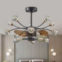 14 Heads Crystal Hanging Fan Light Rural Black Branching Kitchen Semi Mount Lighting with 3 Blades, 31.5