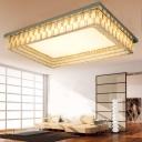 Minimalist Rectangle Ceiling Flush Mount Clear Cut Crystal LED Flushmount Lighting